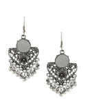 Designer Silver Finish Adorable Oxidised Earring Nose Ring Combo Set