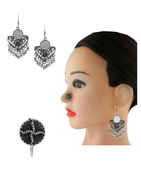 Adorable Silver Finish Fancy Earring Nath Combo Set