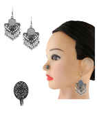 Silver Oxidised Finish Designer Combo Jewellery Set