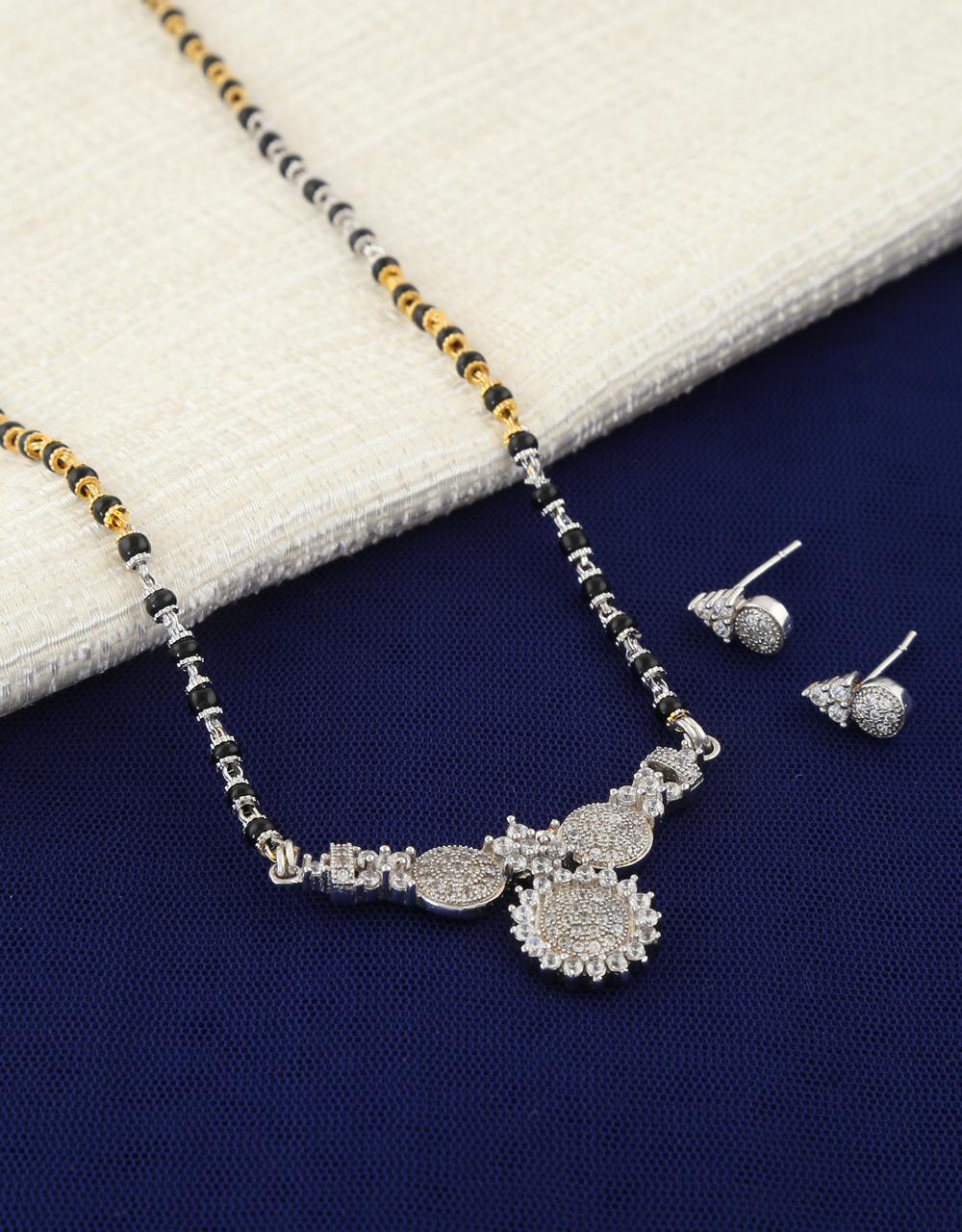 ca7c75168 Fashionable Silver-Gold Tone Wati Mangalsutra Artificial Design. Loading  zoom