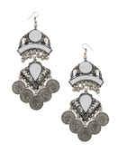 Silver Oxidised Finish Hoops Earring For Garba