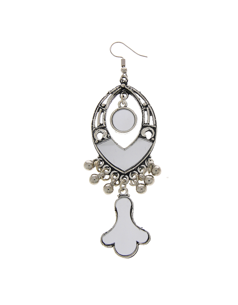 Silver Oxidised Finish Hanging Earring For Garba