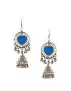 Blue Colour Oxidised Earring For Dandiya