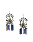 Red-Blue Combination Oxidised Earring