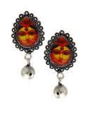 Silver Finish Designer Durga Design Oxidised Necklace