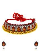 Gold Finish Designer Necklace Durga Necklace