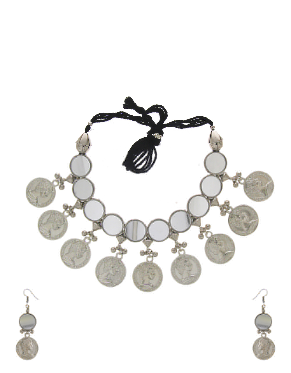 Coin Pattern Silver Finish Necklace