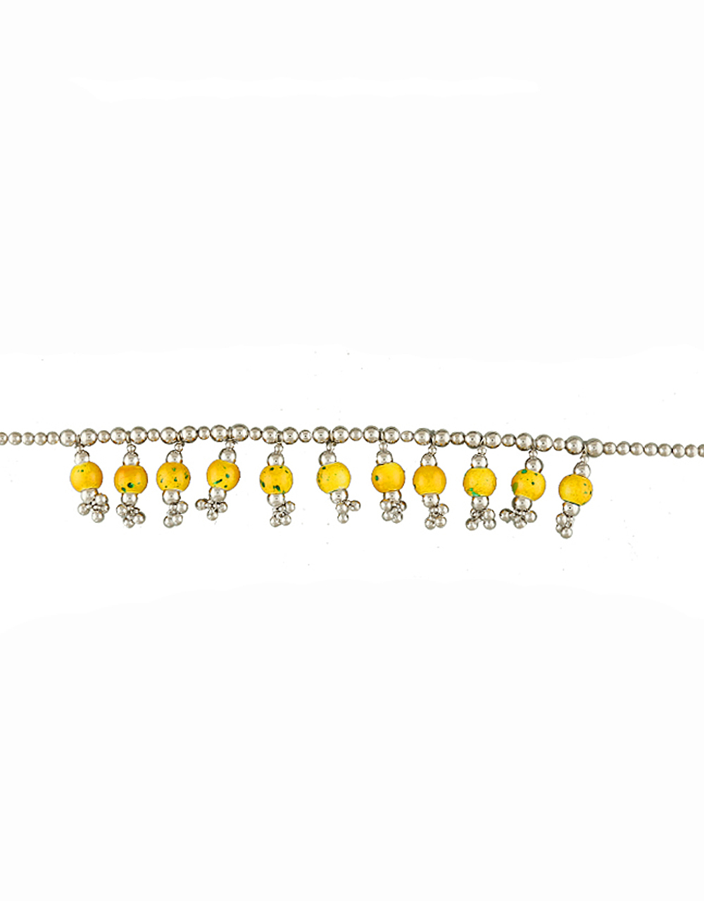 Yellow Colour Silver Finish Fancy Kamarchain For Navratri