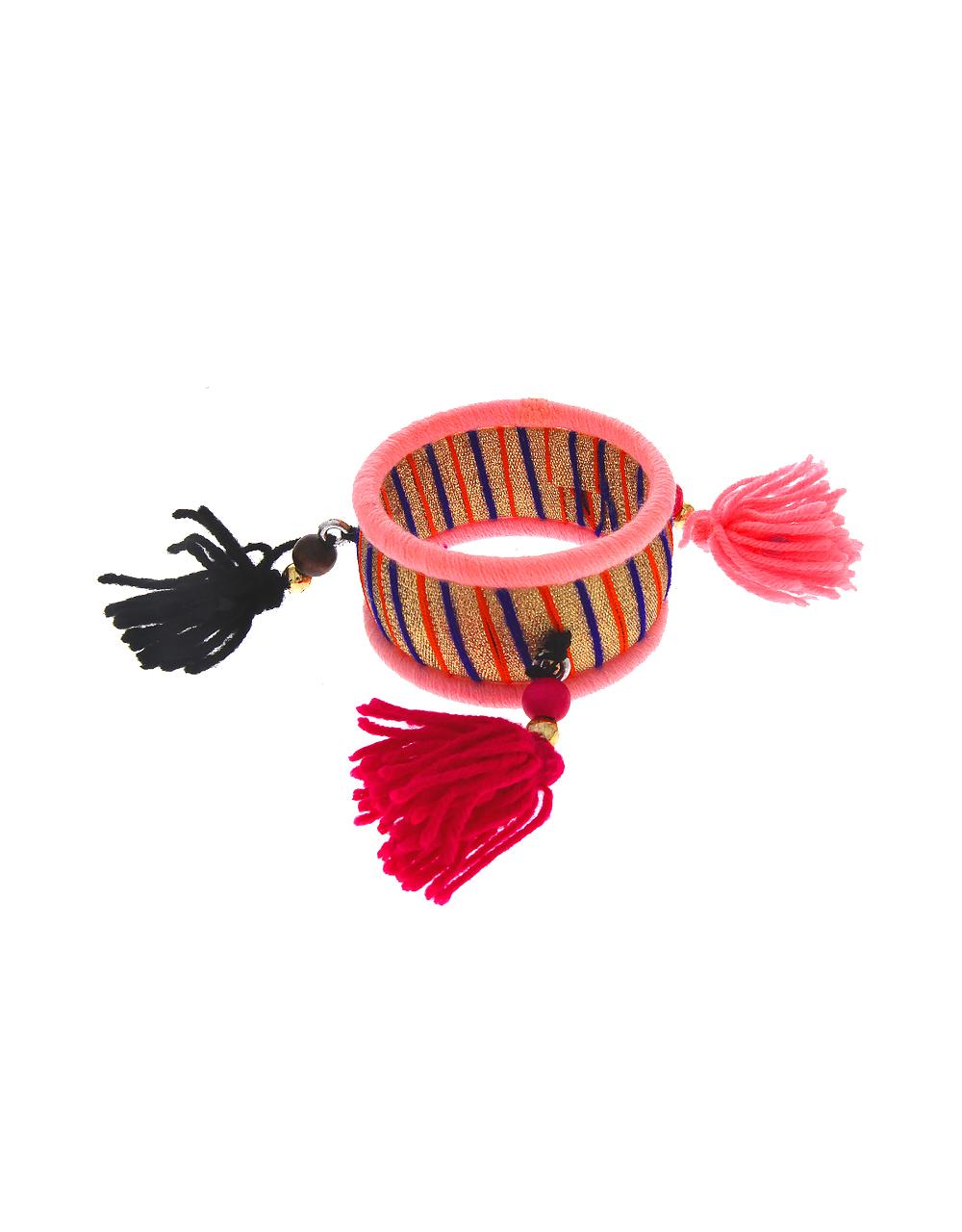 Pink Colour Fancy Kada With Bangles Set