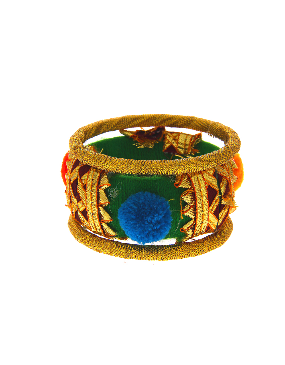 Green Colour Gold Finish Floral Design Bangles Jewellery