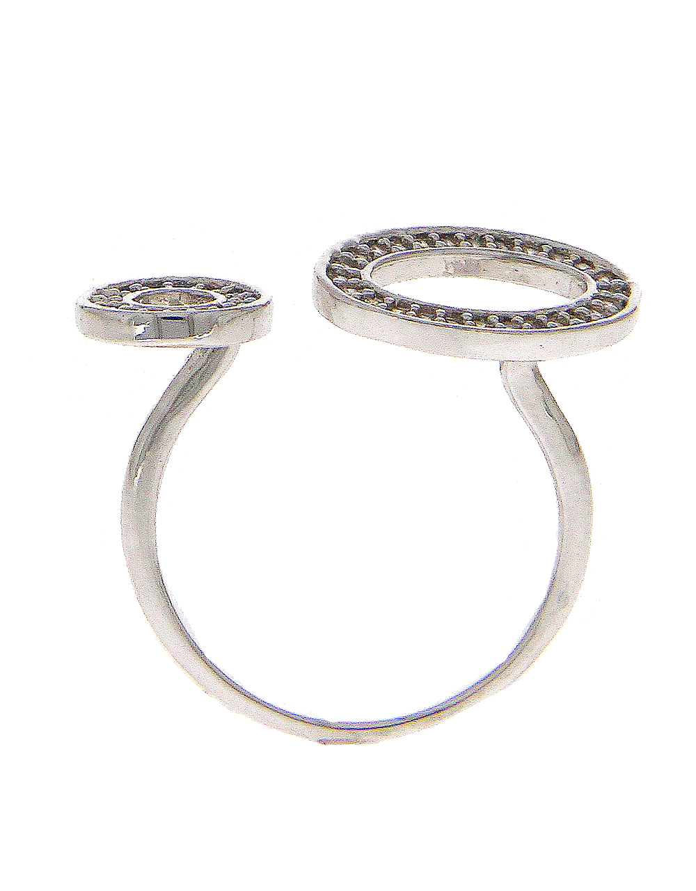 Silver Finish Fancy American Diamond Finger Ring
