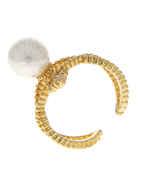 Gold Finish Moti Finger Ring
