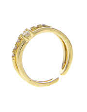 Gold Finish Diamond Finger Ring For Girls