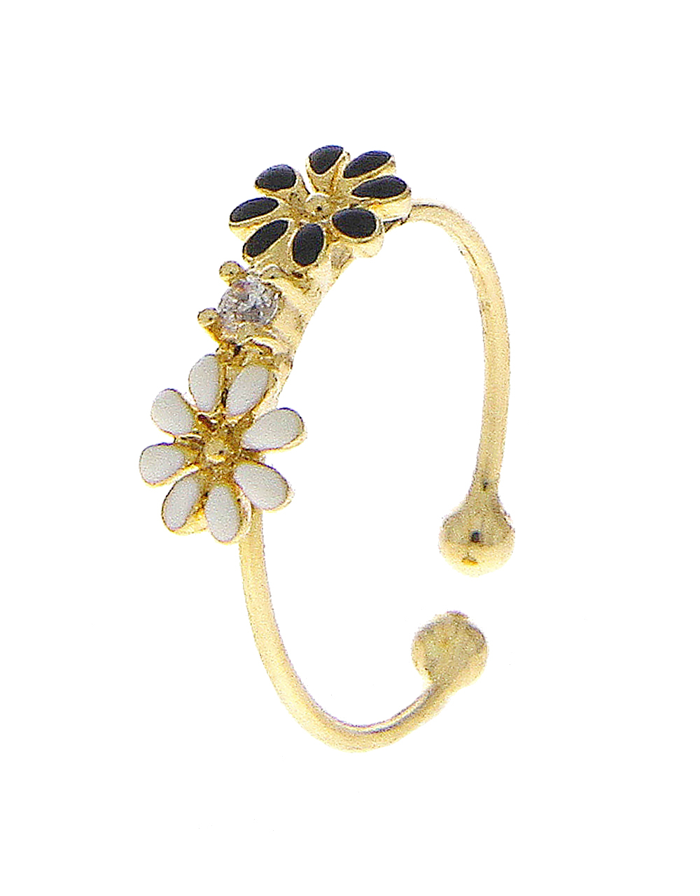 Gold Finish Floral Diamond Ring