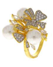 Gold Tone Floral Design Moti Diamond Finger Ring