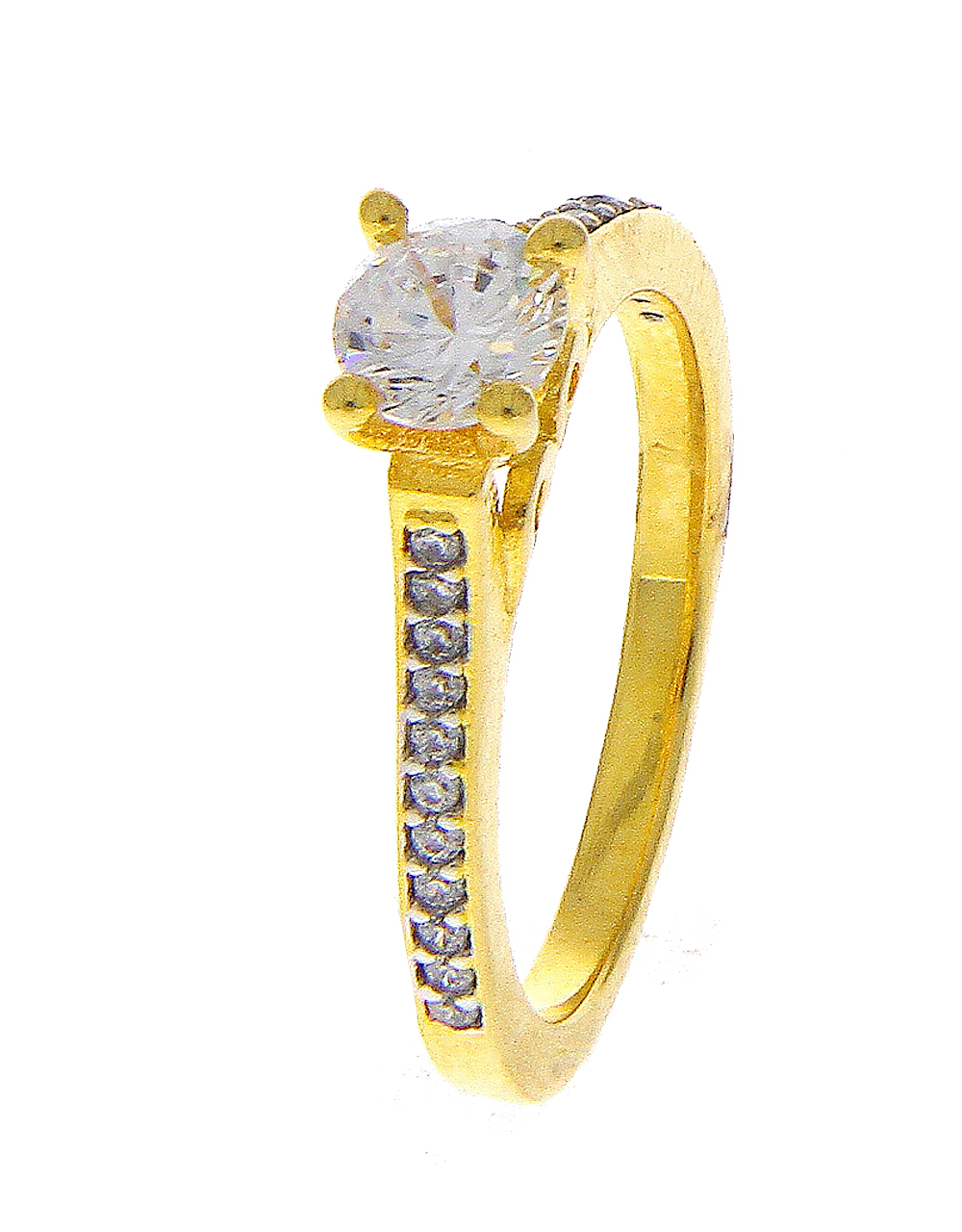 Gold Finish Simple Diamond Finger Ring