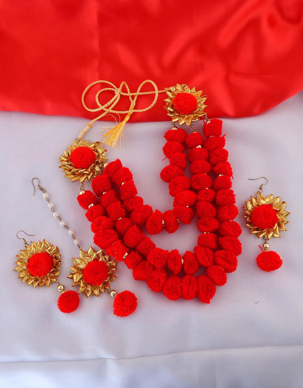 Red Colour Designer Thread Necklace Jewellery For Dandiya Loading Zoom Image