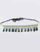 Green Colour Oxidised Silver Kamarband for Girls