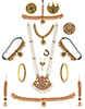 Maroon Colour Gold Finish Bharatnatyam South Indian Bridal Jewellery