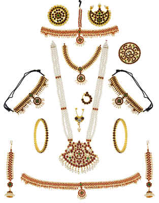 Maroon Colour Gold Finish Bharatnatyam South Indian Bridal Jewellery