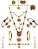 Maroon Colour Gold Finish Moti Necklace Jewellery For Bride