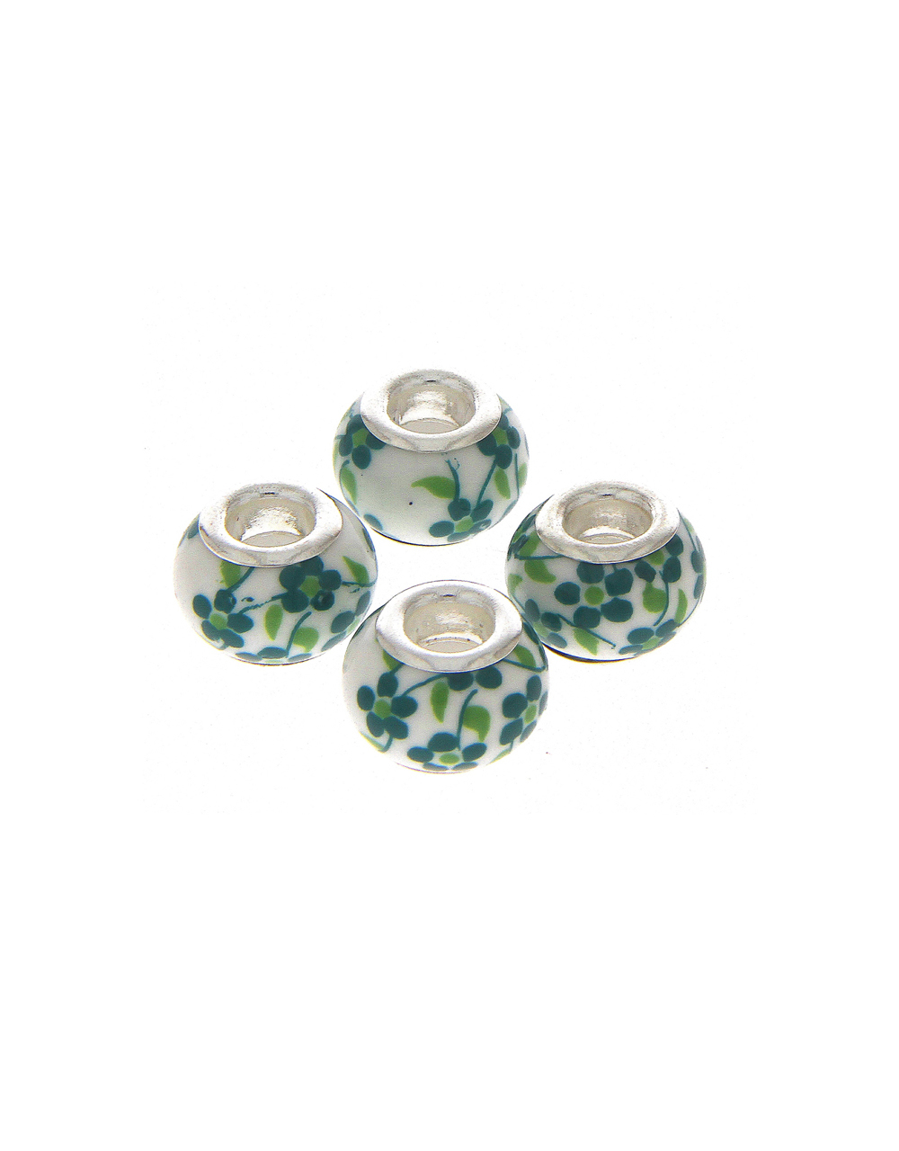 Green Colour Floral Printed Beads for Jewellery Making