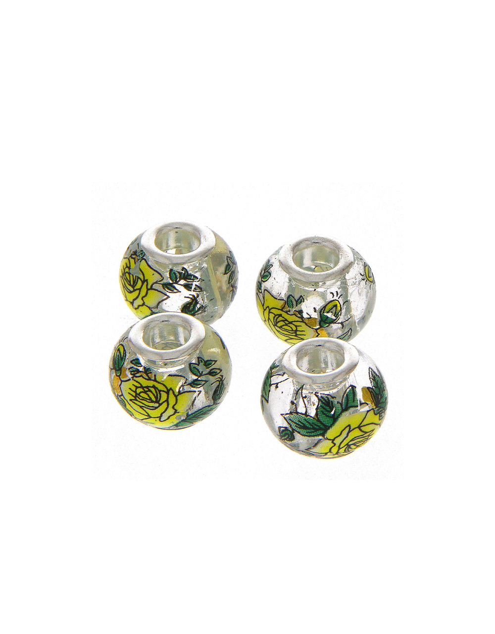 Green Colour Floral Printed Jewellery Making Raw Material Beads