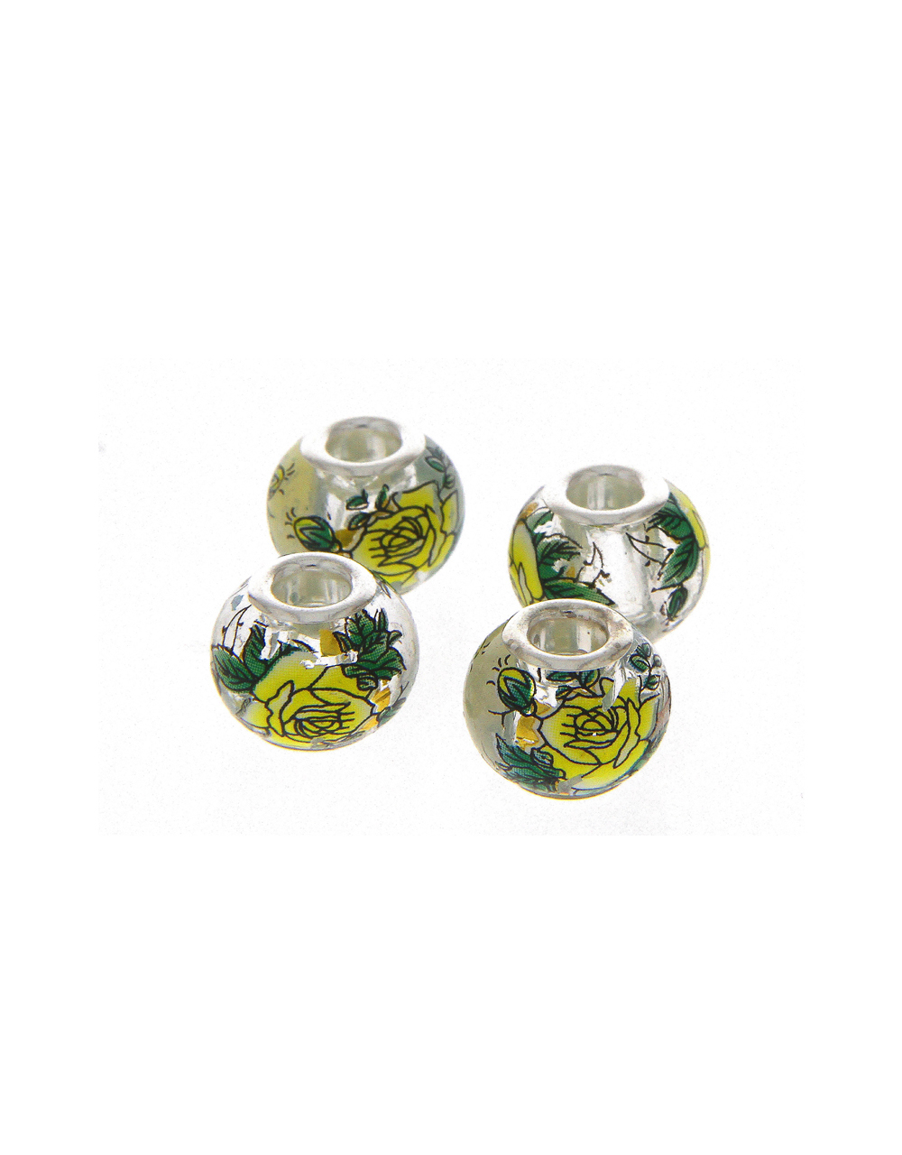 Green Colour Floral Printed Jewellery Making Accessories
