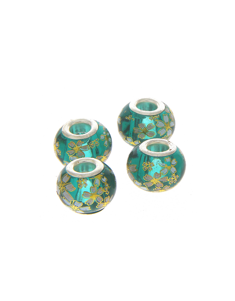 Rama Green Colour Floral Printed Beads for Jewellery Making