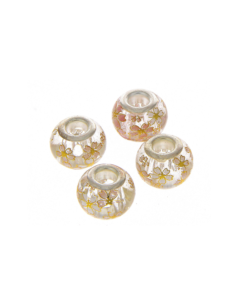 Cream Colour Floral Printed Beads For Jewellery Making