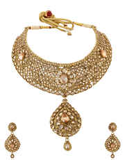 Antique Gold Finish Necklace Studded With Stones Wedding Jewellery