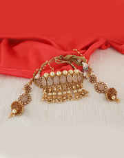 Gold Finish Chokar Necklace Styled With Hanging Pearls Jewellery Set