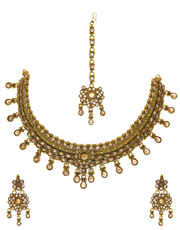 Antique Gold Finish Jewellery Studded With Stones Necklace