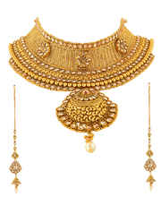 Adorable Gold Finish Wedding Necklace Jewellery