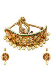 Gold Finish Kundan Necklace Styled With Mina Work Moti Jewellery Set