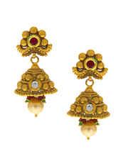 Antique Gold Finish Designer Multi Colour Chokar Necklace