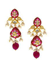 Pink Colour Gold Finish Moti Neckace Jewellery For Wedding Designer