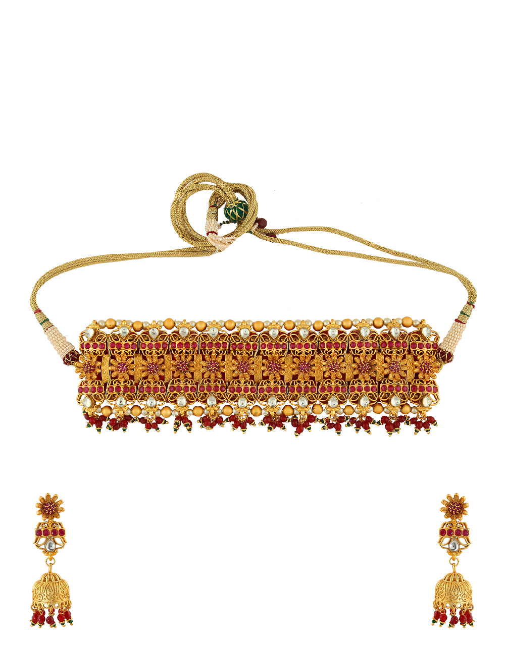Red Colour Matte Gold Finish Chokar Necklace