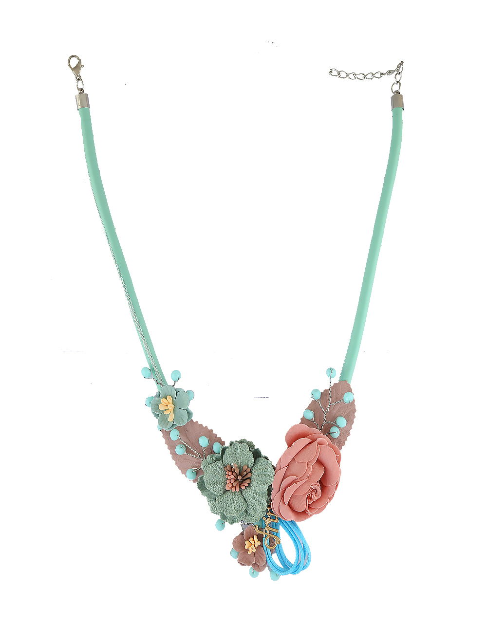 Green Colour Floral Designer Necklace For Western Wear