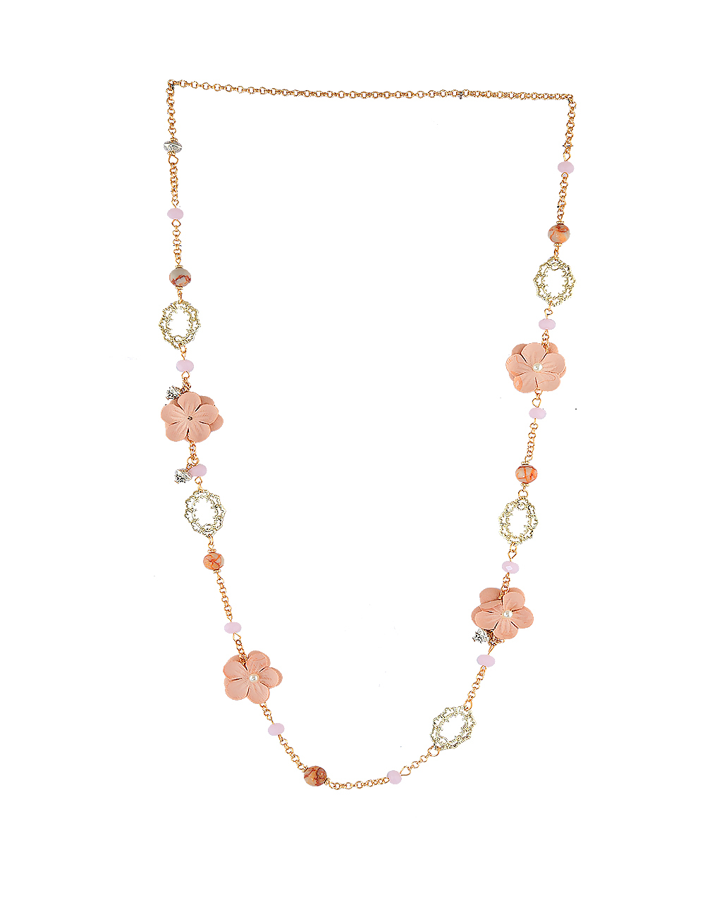 Gold Finish Floral Design Fashionable Necklace