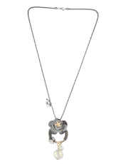 Grey Colour Floral Necklace Jewellery For Girls