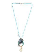 Blue Colour Floral Design Fancy Party Wear Necklace