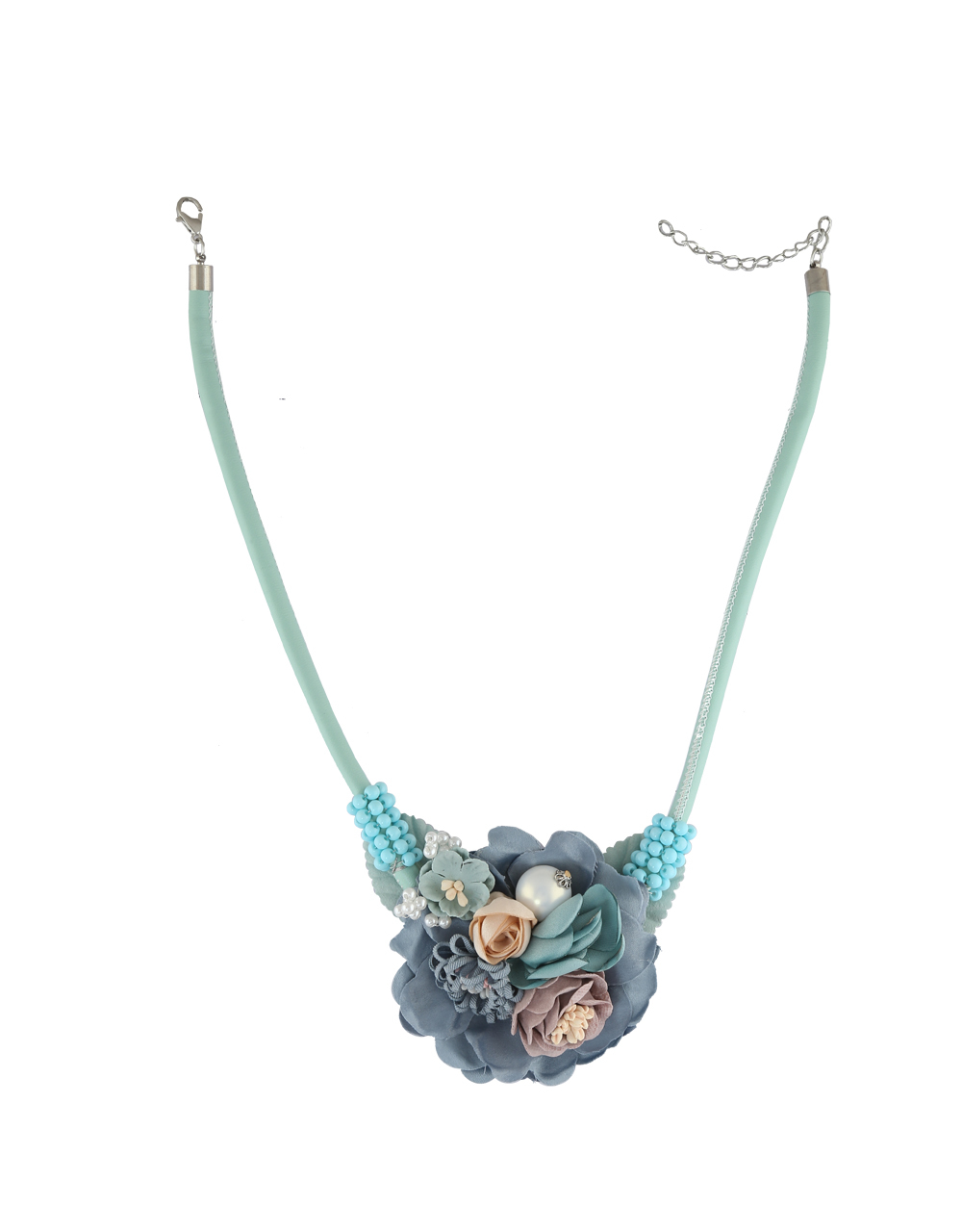 Blue Colour Floral Design Western Party Wear Necklace For Girls