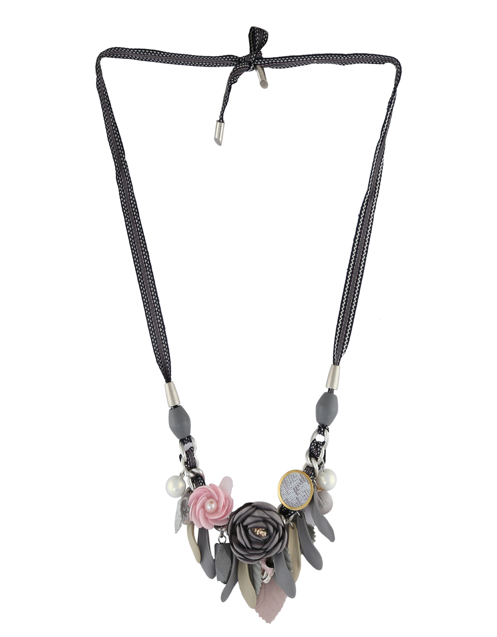 Black Colour Fashionable Floral Necklace For Western Wear