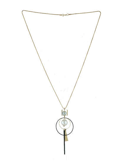 Gold Finish Moti Locket Necklace