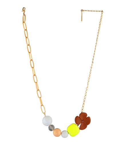 Gold Finish Multi Colour Floral Necklace Jewellery