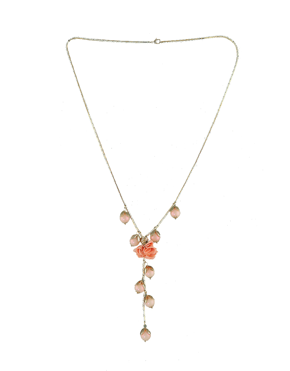 Gold Finish Pink Colour Fancy Beads Necklace