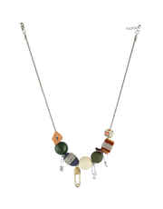 Multi Colour Silver Finish Fashionable Necklace