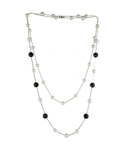 Silver Finish Moti Beads Western Necklace