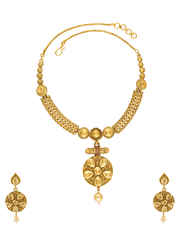 Adorable Gold Finih Fancy Jewellery Set